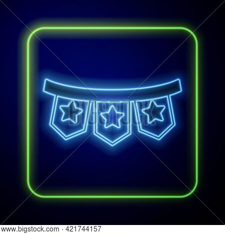 Glowing Neon Carnival Garland With Flags Icon Isolated On Blue Background. Party Pennants For Birthd