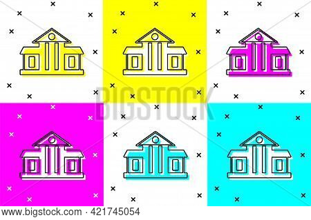Set White House Icon Isolated On Color Background. Washington Dc. Vector
