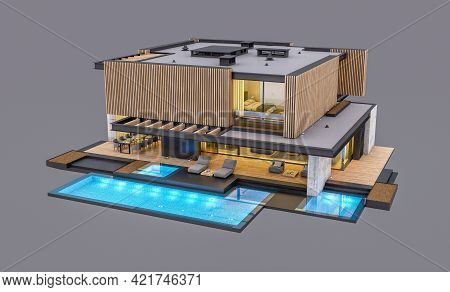 3D Rendering Of Modern House With Wood Plank Facade In Evening Isolated On Gray