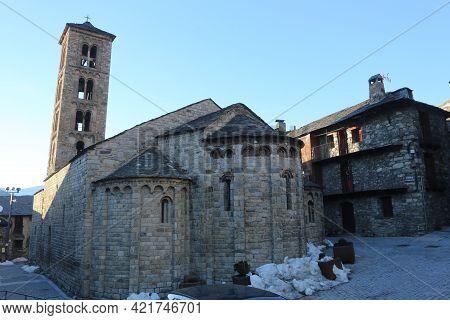 Taull, Spain, March 1, 2020 - Church Santa Maria De Taull Catalan Middle Ages History, Unesco Herita