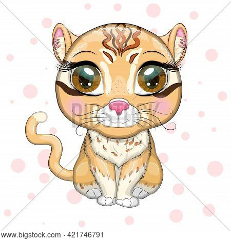 Asian Golden Cat With Beautiful Eyes In Cartoon Style, Colorful Illustration For Children. Asian Gol