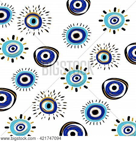Evil Eye Vector Seamless Pattern. Hand Drawn Various Talismans. Different Shapes. Flat Design. Free