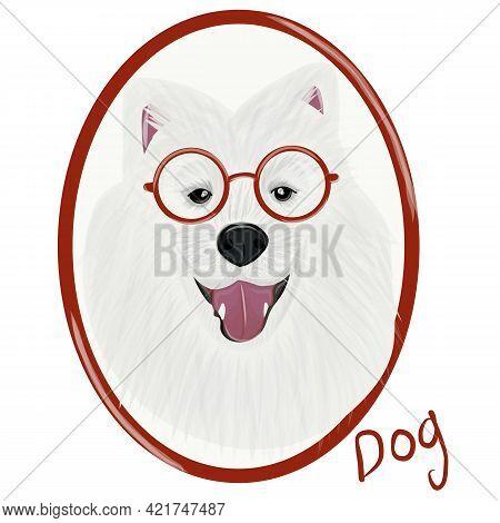 Samoyed Dog Animal Cute Face Full Color Vector Illustration. Digital Vector Samoyed Dog Portrait