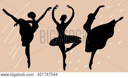 Beautiful Set Of Ballerinas. Ballet Dancing Silhouettes. Dancing Woman.black And White Illustration
