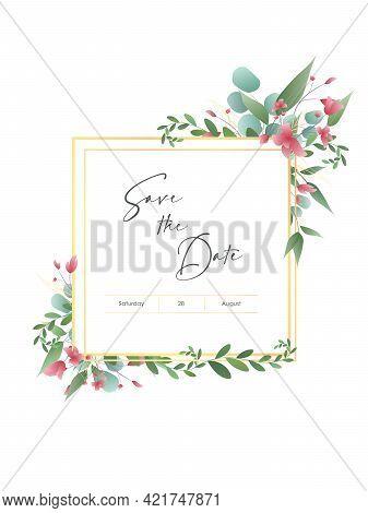 Greenery, Succulent And Branches Wedding Invitation Card, Save The Date, Thank You, Rsvp Template. F