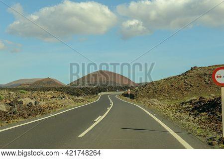 Rural Road At Lanzarote Island, Spain