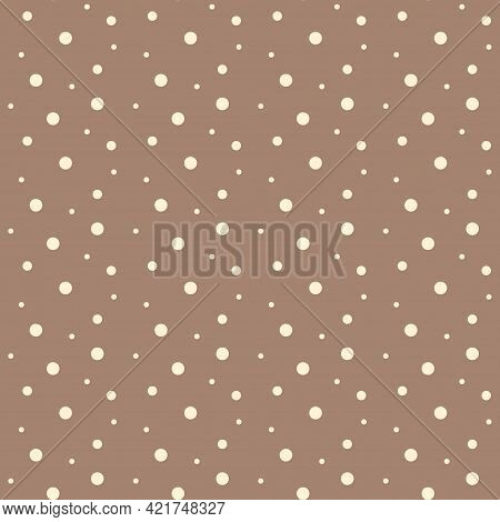 Seamless Vector Pattern With White Polka Dots On Brown Background. Design For Fabric.