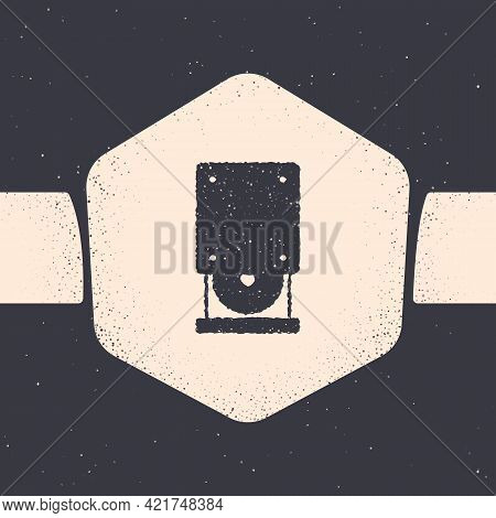 Grunge Optical Disc Drive Icon Isolated On Grey Background. Cd Dvd Laptop Tray Drive For Read And Wr