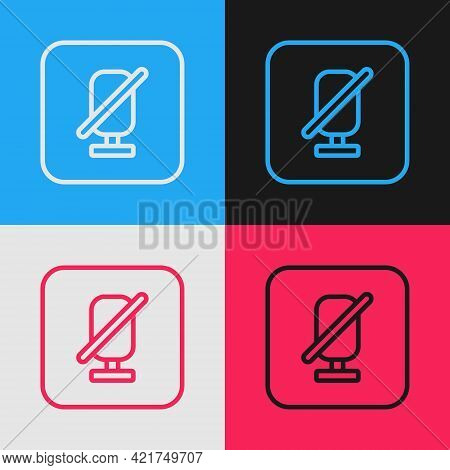 Pop Art Line Mute Microphone Icon Isolated On Color Background. Microphone Audio Muted. Vector