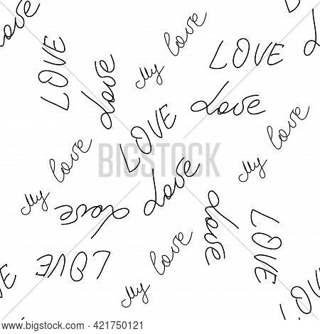 Love Text Seamless Pattern. Text Backgrounds Applicable In Printing, Textiles, Art Objects, Clothing