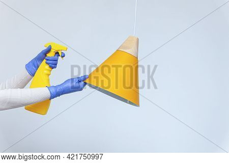 Hands In Gloves Removing Dust, Cleaning Electric Lamp, Chandelier
