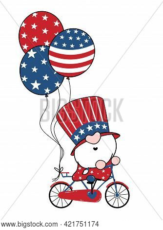 4th Of July America Gnome Patriotic On Bicycle With Balloons, Cartoon Doodle Outline Flat Vector Ill