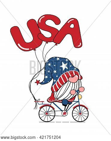 Cute Gnome 4th Of July, Independence Day, Gnome On Bike With Usa Balloons, Doodle Cartoon Flat Vecto