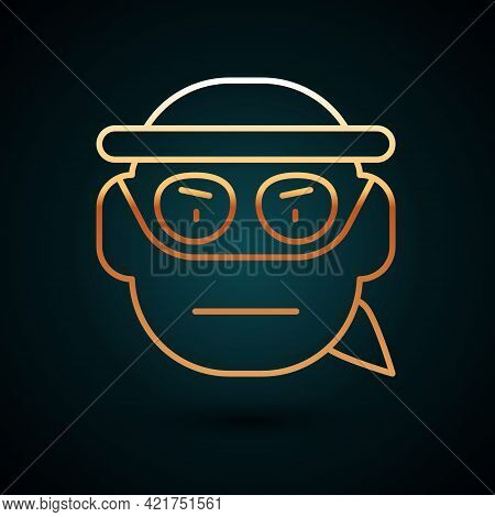 Gold Line Bandit Icon Isolated On Dark Blue Background. Vector