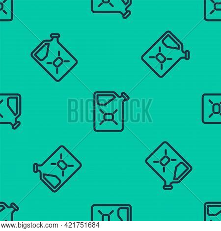 Blue Line Canister For Flammable Liquids Icon Isolated Seamless Pattern On Green Background. Oil Or