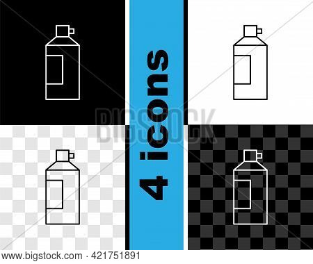 Set Line Whipped Cream In An Aerosol Can Icon Isolated On Black And White, Transparent Background. S
