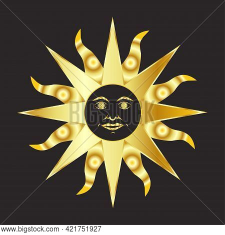 Mystical Golden Boho Tattoos With Sun, Crescent, Stars And Clouds. Linear Design, Hand-drawing. Set