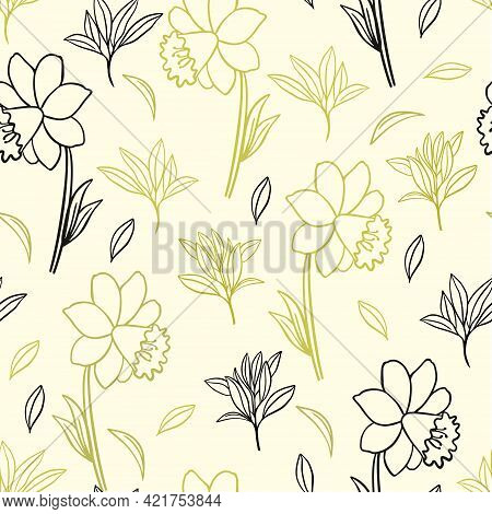 Seamless Pattern With Gold And Black Daffodils Flowers. Botanical Natural Solid Floral And Leafy Pat