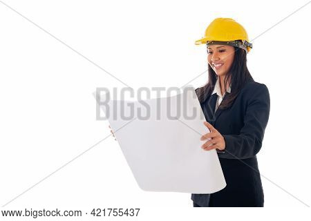 Portrait Of Asian Engineer Woman With Helmet Holding Blueprints Isolated White Background With Copy