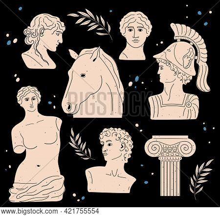 Set Of Antique Statues And Sculptures. Aphrodite Venus Portrait. Antique Greek Sculpture Set. Heads