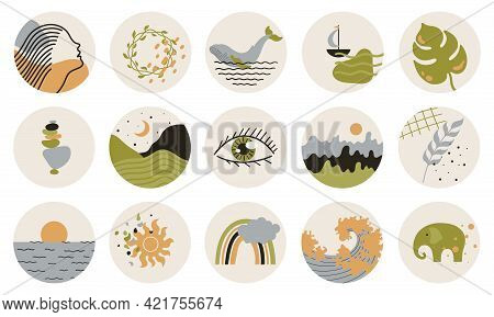 Abstract Story Highlight Cover. Abstract Various Vector Highlight Covers With Mystical And Astrology