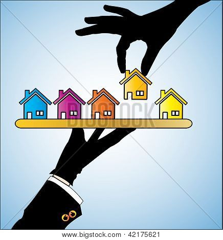 Illustration Of Buying A House - A Customer Choosing A House Of His/her Choice From Different Choice
