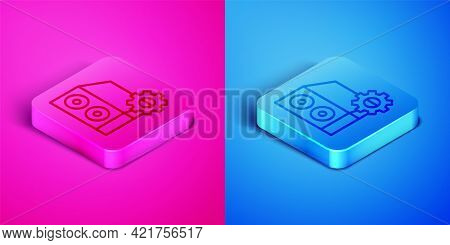 Isometric Line Case Of Computer Setting Icon Isolated On Pink And Blue Background. Computer Server.