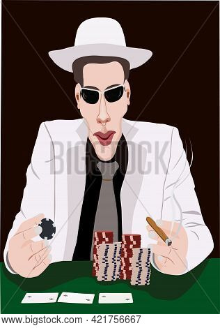 Man In Hat Plays Poker Poker Game Illustration.