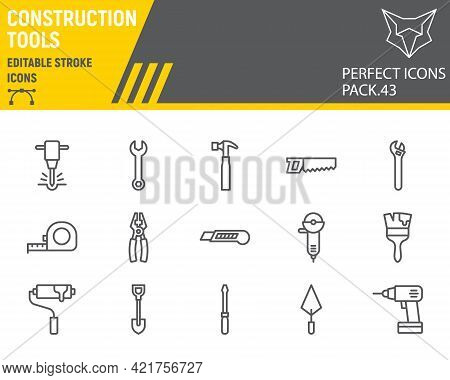 Construction Tools Line Icon Set, Tools Collection, Vector Graphics, Logo Illustrations, Repair Tool