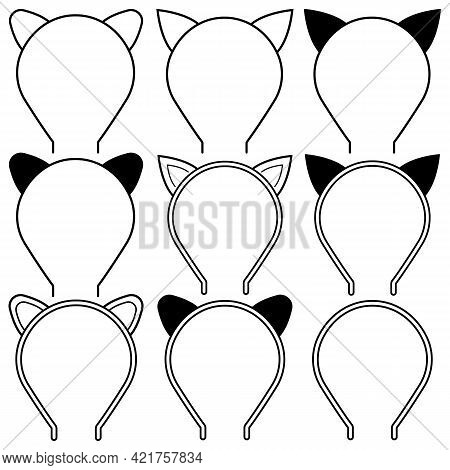 A Set Of Hoops On The Head For Hair With Cat Ears. Vector Illustration.