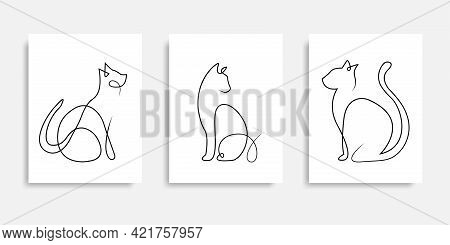 Cat One Line Drawing Vector. Continuous Line Cats Cover Poster. Line Art. Poster For Concept Design.