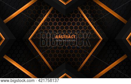 Futuristic Black And Orange Abstract Gaming Banner Design Template With Hexagon Carbon Fiber. Dark T