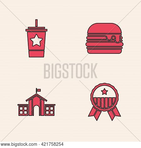 Set Medal With Star, Paper Glass Straw, Burger And United States Capitol Congress Icon. Vector