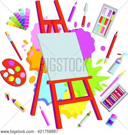 Easel With Brushes And Paints On A White Background