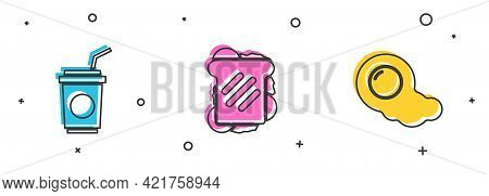 Set Paper Glass With Straw, Sandwich And Scrambled Eggs Icon. Vector