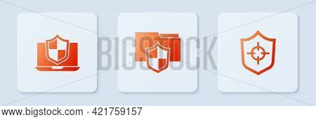 Set Document Folder Protection, Laptop Protected With Shield And Shield. White Square Button. Vector