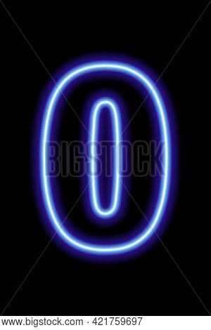 Neon Blue Number 0 On Black Background. Learning Numbers, Serial Number, Price, Place.