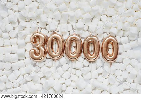 30000 Followers Card. Template For Social Networks, Blogs. Background With White Marshmallows. Socia