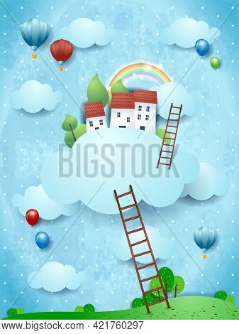 Fantasy Landscape With Stairways And Village Over The Clouds. Vector Illustration Eps10
