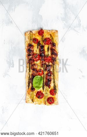 Antipasto With Traditional Spanish Meat And Cheese Snacks On Wooden Board And White Background, Dinn