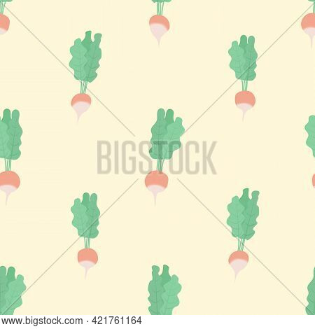 Vector Seamless Pattern With Radish On Yellow Background. For Spring And Summer Decoration, Fest Inv