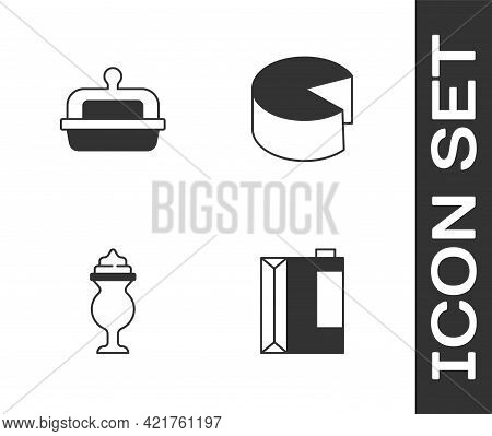 Set Paper Package For Kefir, Butter In Butter Dish, Milkshake And Cheese Icon. Vector
