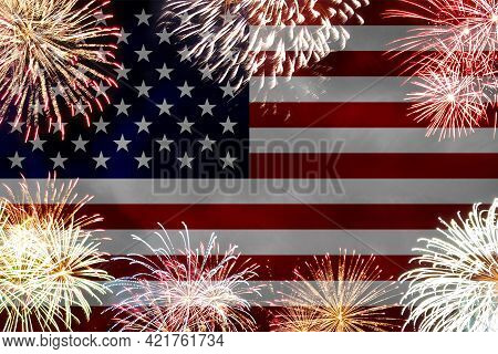 Concept Of Celebrating Independence Day In United States Of America. Usa National Flag With Firework