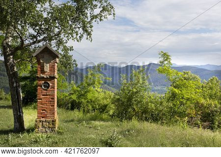 Olot, Spain, May 1, 2020 - Pilgrim Road In Volca Montsacopa. Brick Stage Of Holy Path. Concept Of Re