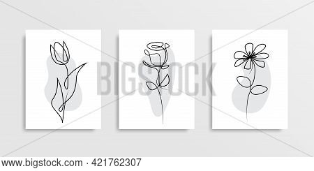 Flowers One Line Drawing Design. Trendy Line Art Icon With One Line Flowers Cover For Banner Design.