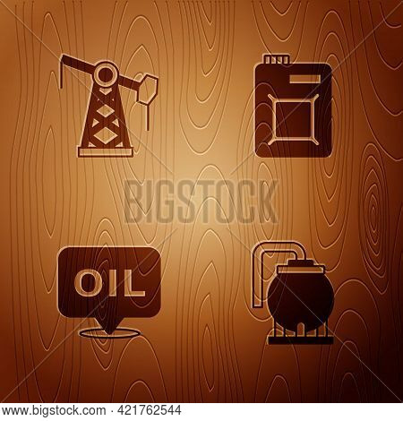 Set Oil Tank Storage, Pump Pump Jack, Word Oil And Canister For Motor On Wooden Background. Vector