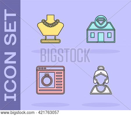 Set Consultant Of Jewelry Store, Necklace Mannequin, Jewelry Online Shopping And Icon. Vector