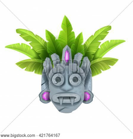Cartoon Tiki Mask, Vector Tribal Totem Hawaii Stone Statue, Tropical Leaves, Isolated On White. Anci