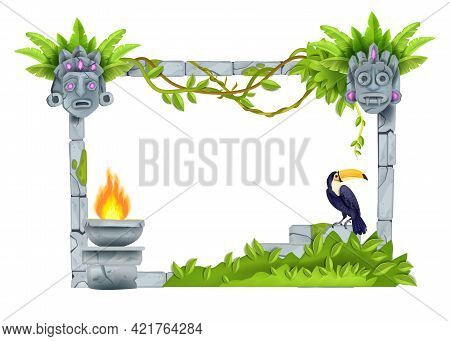 Stone Vector Jungle Frame, Old Ancient Rock Ruin Wall, Game Ui Design Isolated On White, Toucan, Tik