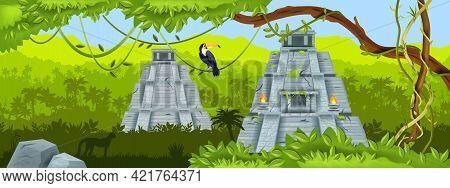 Maya Ancient Pyramid, Jungle Vector Landscape, Mexico Aztec Temple Ruin, Toucan, Tropical Rainforest